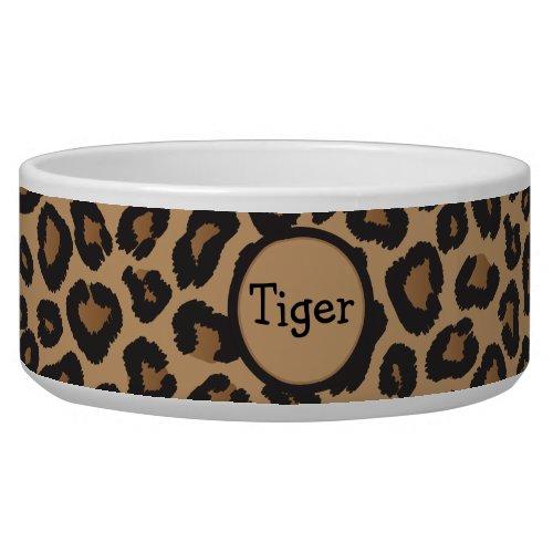Leopard Monogram Cat Bowl