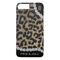 Leopard Monogram Glitter iPhone 7 Plus Case