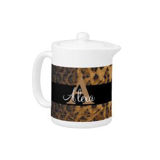 Leopard Monogram Initial Letter A Teapot