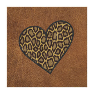 Leopard on leather canvas print