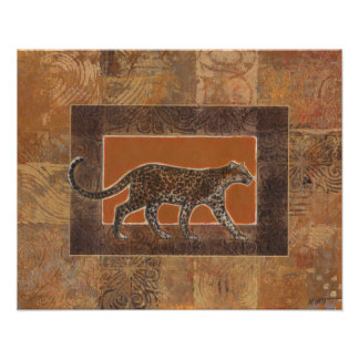 Leopard on Orange and Brown Background Poster