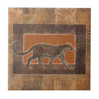 Leopard on Orange and Brown Background Small Square Tile