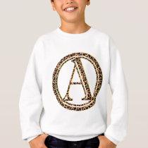 Leopard pattern alphabet A Sweatshirt