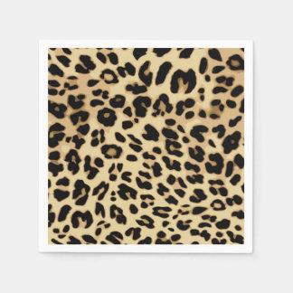 Leopard Pattern Animal Print Black/Gold Paper Napkin