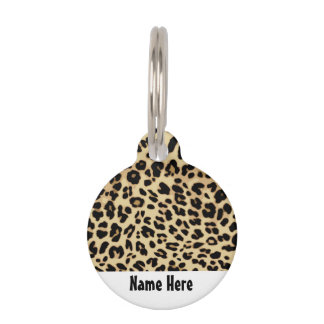 Leopard Pattern Animal Print Black/Gold Pet Name Tag