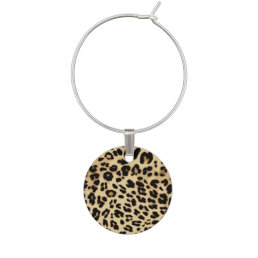Leopard Pattern Animal Print Black/Gold Wine Charm