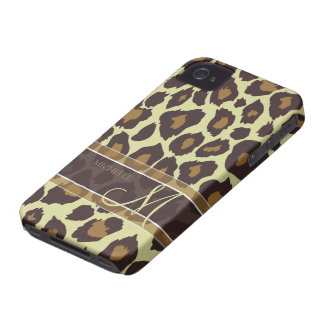 Leopard Pattern - Brown and Tan with Monogram iPhone 4 Case-Mate Cases