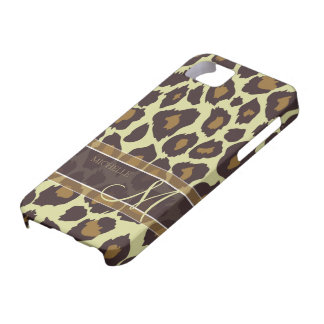 Leopard Pattern - Brown and Tan with Monogram iPhone SE/5/5s Case
