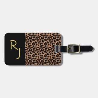 Leopard Pattern Custom Monogrammed Tag For Luggage