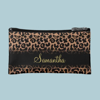 Leopard Pattern Custom Personalized Cosmetic Bags