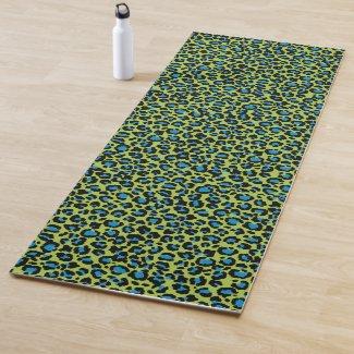 Leopard Pattern in Blue Raspberry on Lime Green Yoga Mat
