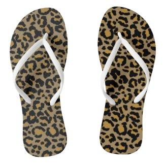 Leopard Pattern in Natural 2 Flip Flops