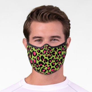 Leopard Pattern in Raspberry on Lime Green Premium Face Mask