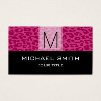 Leopard Pattern Modern Black Monogram #10 Business Card