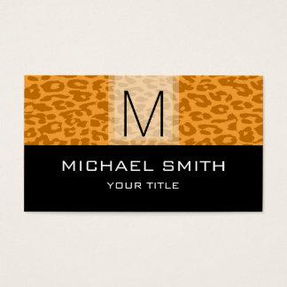 Leopard Pattern Modern Black Monogram #11 Business Card