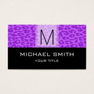 Leopard Pattern Modern Black Monogram #12 Business Card