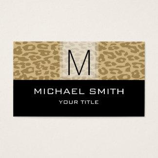 Leopard Pattern Modern Black Monogram #13 Business Card