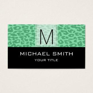 Leopard Pattern Modern Black Monogram #14 Business Card
