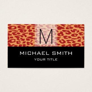 Leopard Pattern Modern Black Monogram #15 Business Card