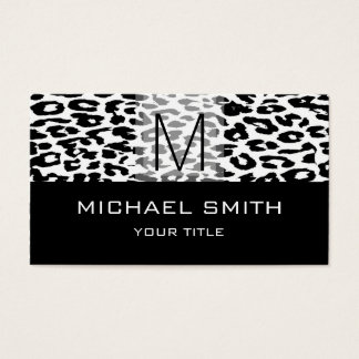 Leopard Pattern Modern Black Monogram #16 Business Card