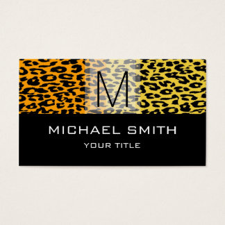 Leopard Pattern Modern Black Monogram #17 Business Card