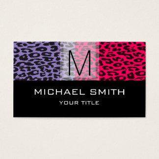 Leopard Pattern Modern Black Monogram #18 Business Card