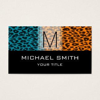 Leopard Pattern Modern Black Monogram #19 Business Card