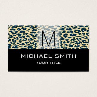 Leopard Pattern Modern Black Monogram #20 Business Card