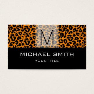 Leopard Pattern Modern Black Monogram #21 Business Card