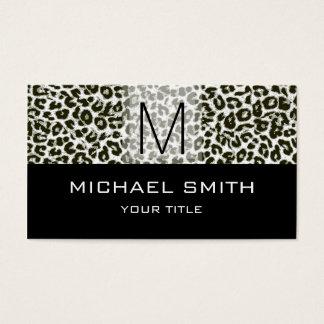 Leopard Pattern Modern Black Monogram #23 Business Card