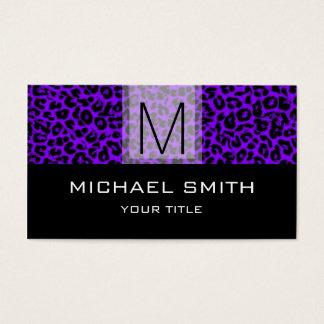 Leopard Pattern Modern Black Monogram #24 Business Card