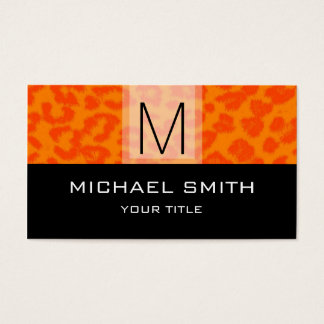 Leopard Pattern Modern Black Monogram #28 Business Card