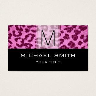 Leopard Pattern Modern Black Monogram #29 Business Card