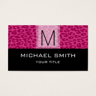 Leopard Pattern Modern Black Monogram #2 Business Card