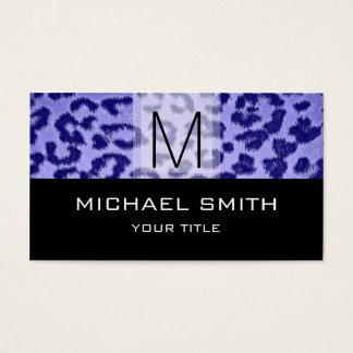 Leopard Pattern Modern Black Monogram #30 Business Card