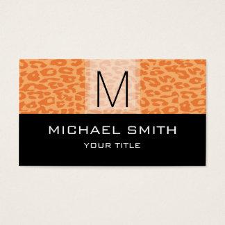 Leopard Pattern Modern Black Monogram #3 Business Card