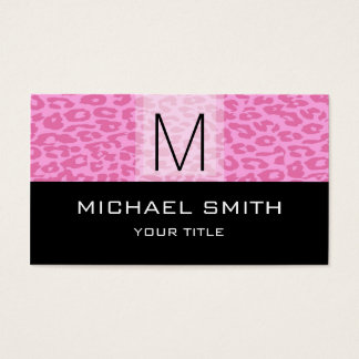 Leopard Pattern Modern Black Monogram #4 Business Card