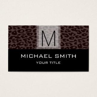 Leopard Pattern Modern Black Monogram #5 Business Card