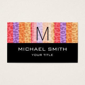 Leopard Pattern Modern Black Monogram #6 Business Card