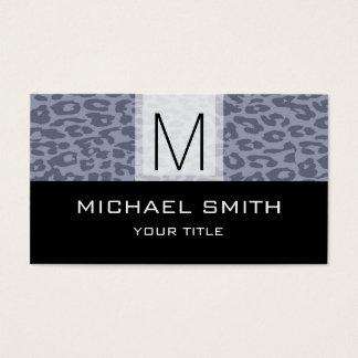 Leopard Pattern Modern Black Monogram #7 Business Card