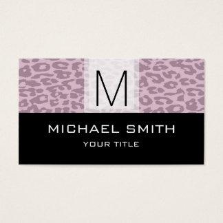 Leopard Pattern Modern Black Monogram #8 Business Card