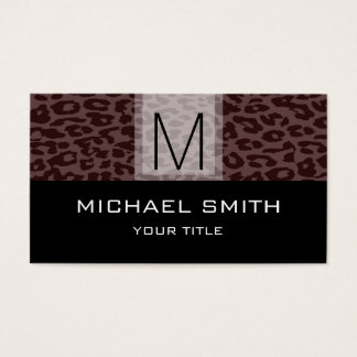 Leopard Pattern Modern Black Monogram #9 Business Card