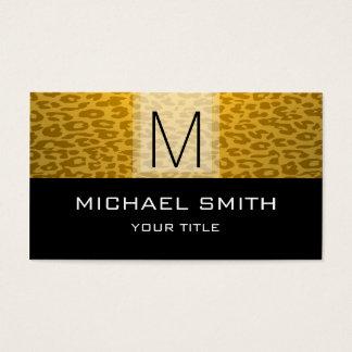 Leopard Pattern Modern Black Monogram Business Card