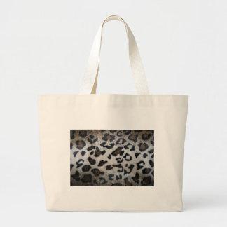 Leopard pattern, natural color fake fur closeup canvas bag