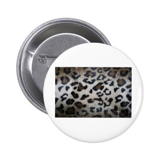 Leopard pattern, natural color fake fur closeup pinback buttons