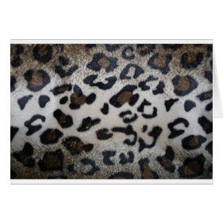 Leopard pattern, natural color fake fur closeup card