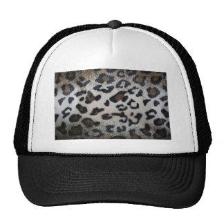 Leopard pattern, natural color fake fur closeup mesh hats