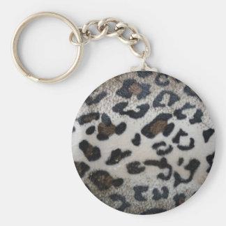 Leopard pattern, natural color fake fur closeup keychains