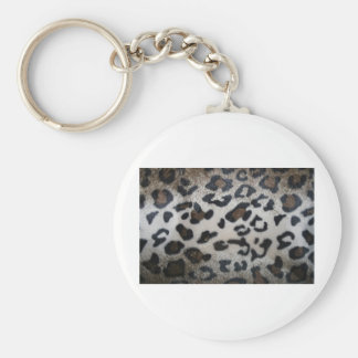 Leopard pattern, natural color fake fur closeup key chain