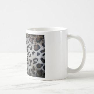 Leopard pattern, natural color fake fur closeup mugs